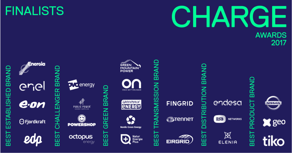 CHARGE Awards. Chugoku, enel, e.on, edp, fjordkraft, ovo energy, public power, powershop, octopus, green mountain power, on, greenpeace energy, nordic green, naturenergieplus, fingrid, eirgrid, tennet, endesa, esb networks, elenia, nissan, geo, tiko